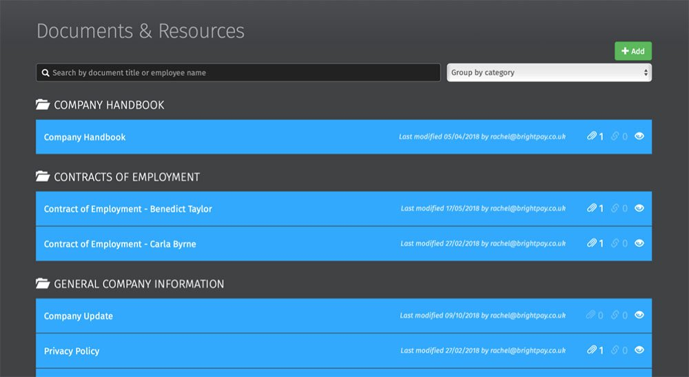 HR documents dashboard