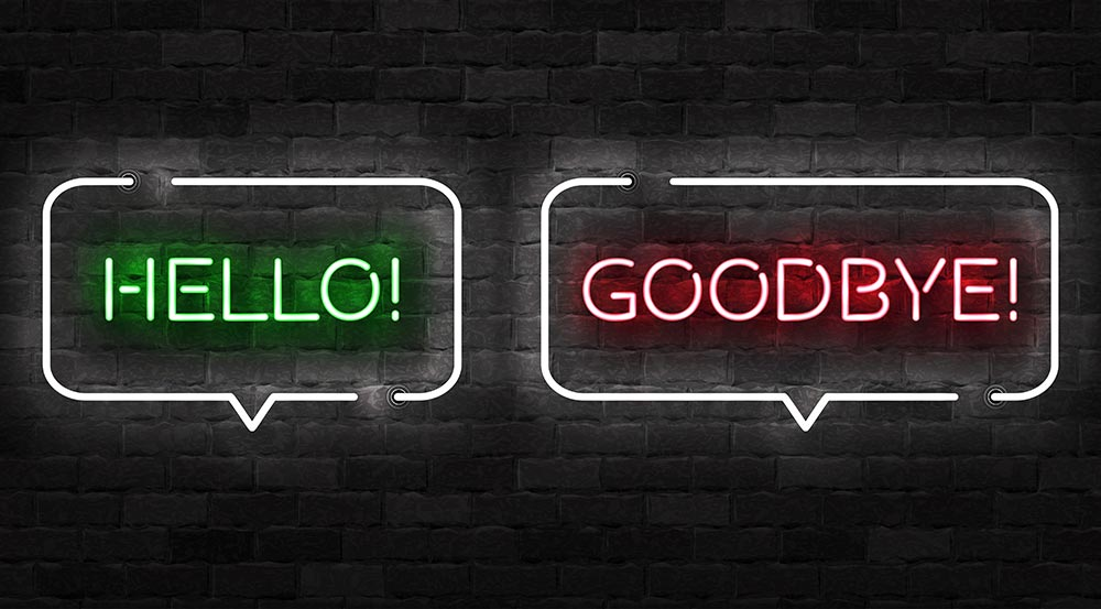 Hello and goodbye neon signs