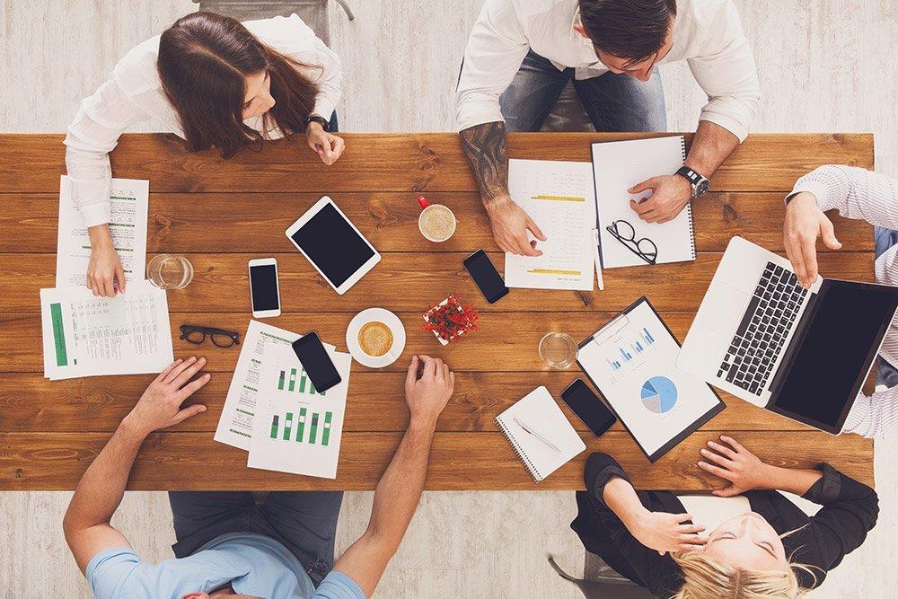 Team working together office desk